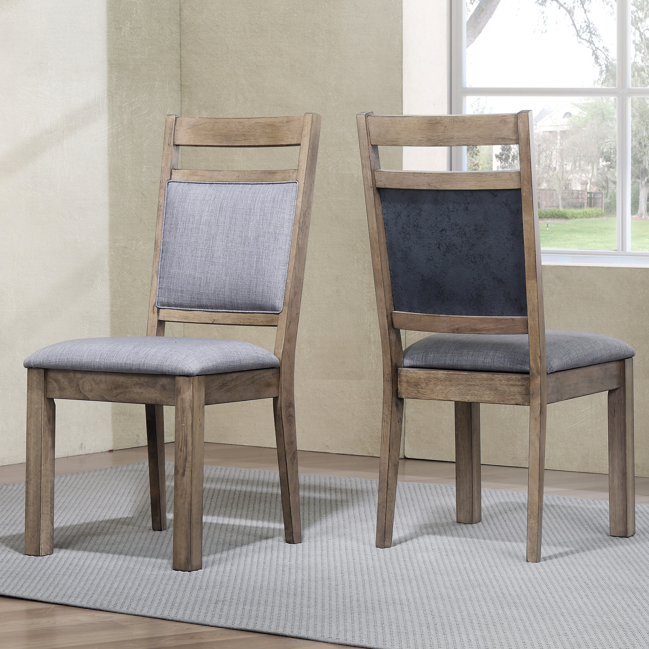 Roundhill Furniture Costa Bella Dining Collection Solid Wood Chairs, Set of 2