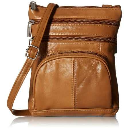 Roma Leathers Genuine Leather Multi Pocket Crossbody Purse Bag