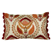 """Rizzy Home Floral Poly Filled Decorative Throw Pillow, 12"""" x 20"""", Red"""