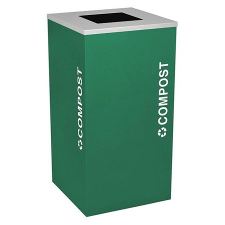 Ex-Cell Kaiser RC-KDSQ-CMPST EGX 24 Gallon Square Recycling Receptacle with Cans & Bottles Decal, Emerald (Stores In Emerald Square Mall)