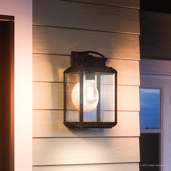 """Urban Ambiance Luxury Tuscan Outdoor Wall Light, Small Size: 11.75""""H x 6.5""""W, with Craftsman Style Elements, Faux Copper Disk, Royal Bronze Finish and Beveled Glass, Includes Edison Bulb, UQL1020"""