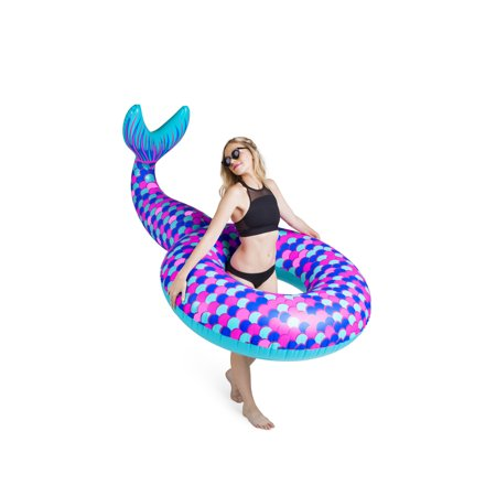 BigMouth Inc. Giant Mermaid Tail Pool Float, Funny Inflatable Vinyl Summer Pool Tube or Beach Toy, Patch Kit Included