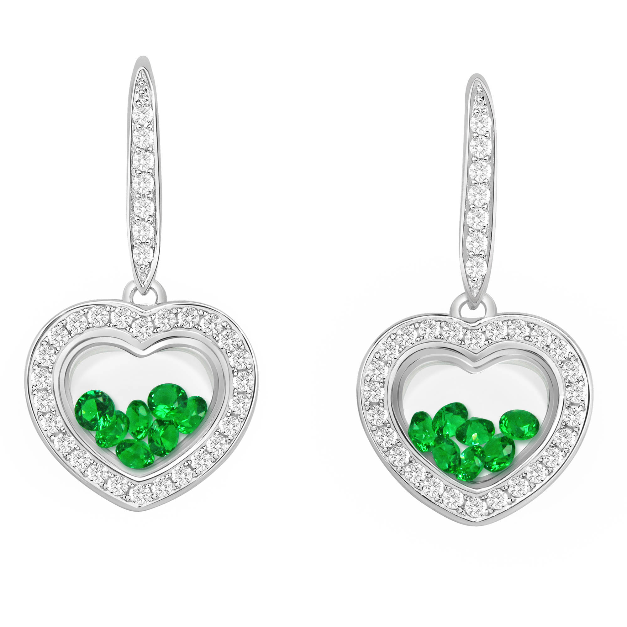 Chetan Collection Floating Green CZ Sterling Silver Designer Heart-Shape Earrings