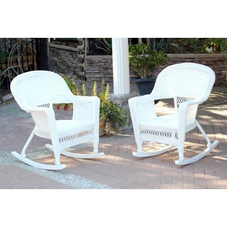 Set Of 2 Ariel White Resin Wicker Outdoor Patio Garden Rocking