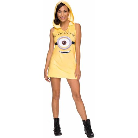 Minions Movie Minion Hooded Women's Adult Halloween Costume - Minion Homemade Halloween Costume