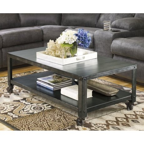 Ashley hattney metal rectangular coffee table in gray for Meuble ashley circulaire