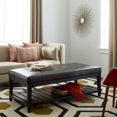 Sensational Abbyson Manchester Tufted Leather Coffee Table Ottoman Bralicious Painted Fabric Chair Ideas Braliciousco