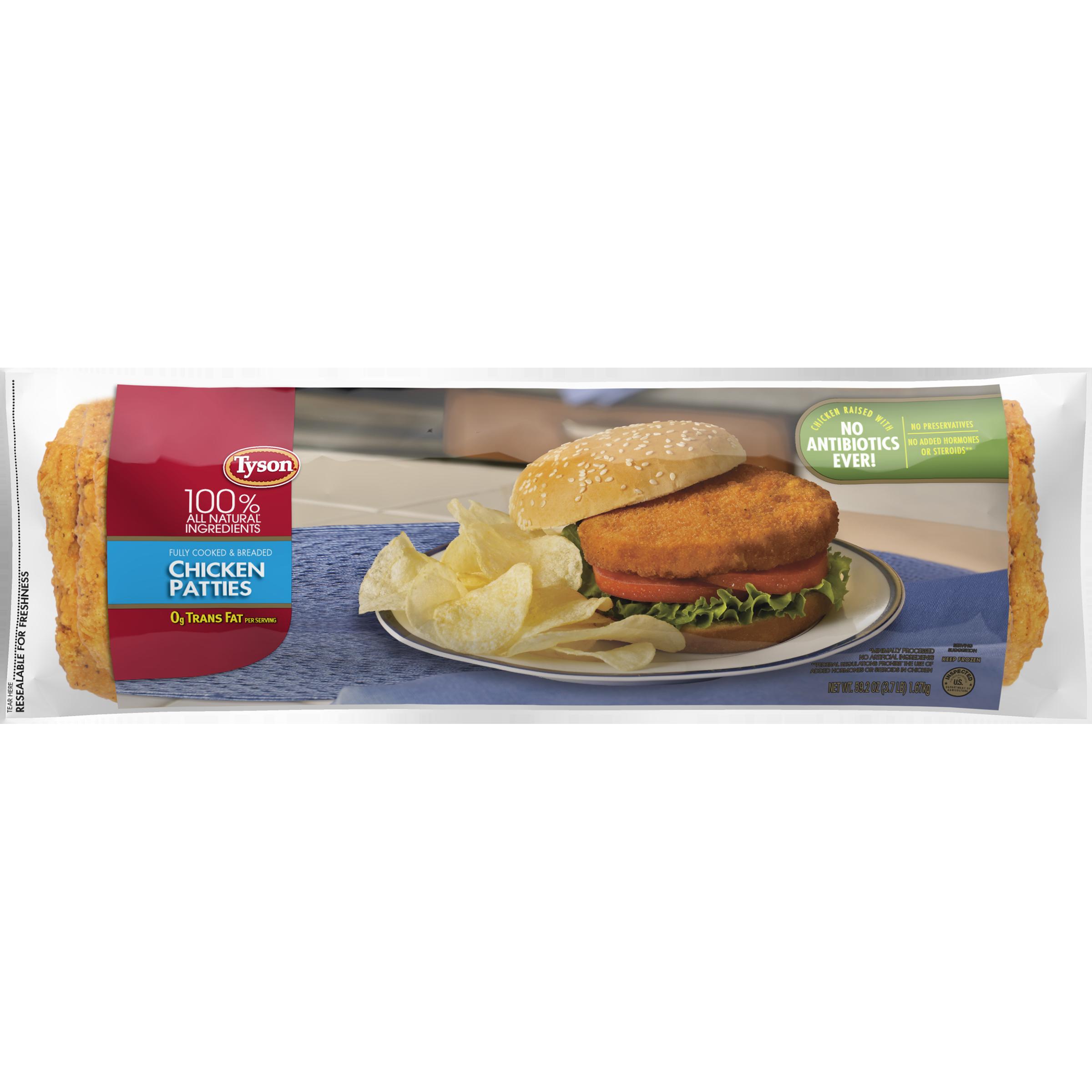 Tyson® Fully Cooked Chicken Patties, 59.2 oz. (Frozen)