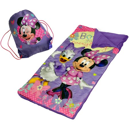 Pink Slumber Bag (Disney Minnie Mouse Slumber Set/Nap Mat with BONUS Sling Bag)