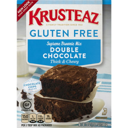 (4 Pack) Krusteaz Gluten Free Double Chocolate Brownie Mix, 20oz Box
