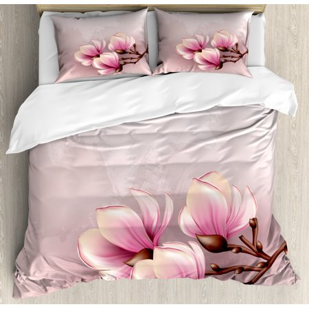 Magnolia King Size Duvet Cover Set, Fragile Petals of Magnolia Flower Bloom on Brush Stroked Background, Decorative 3 Piece Bedding Set with 2 Pillow Shams, Pink Baby Pink and Brown, by Ambesonne