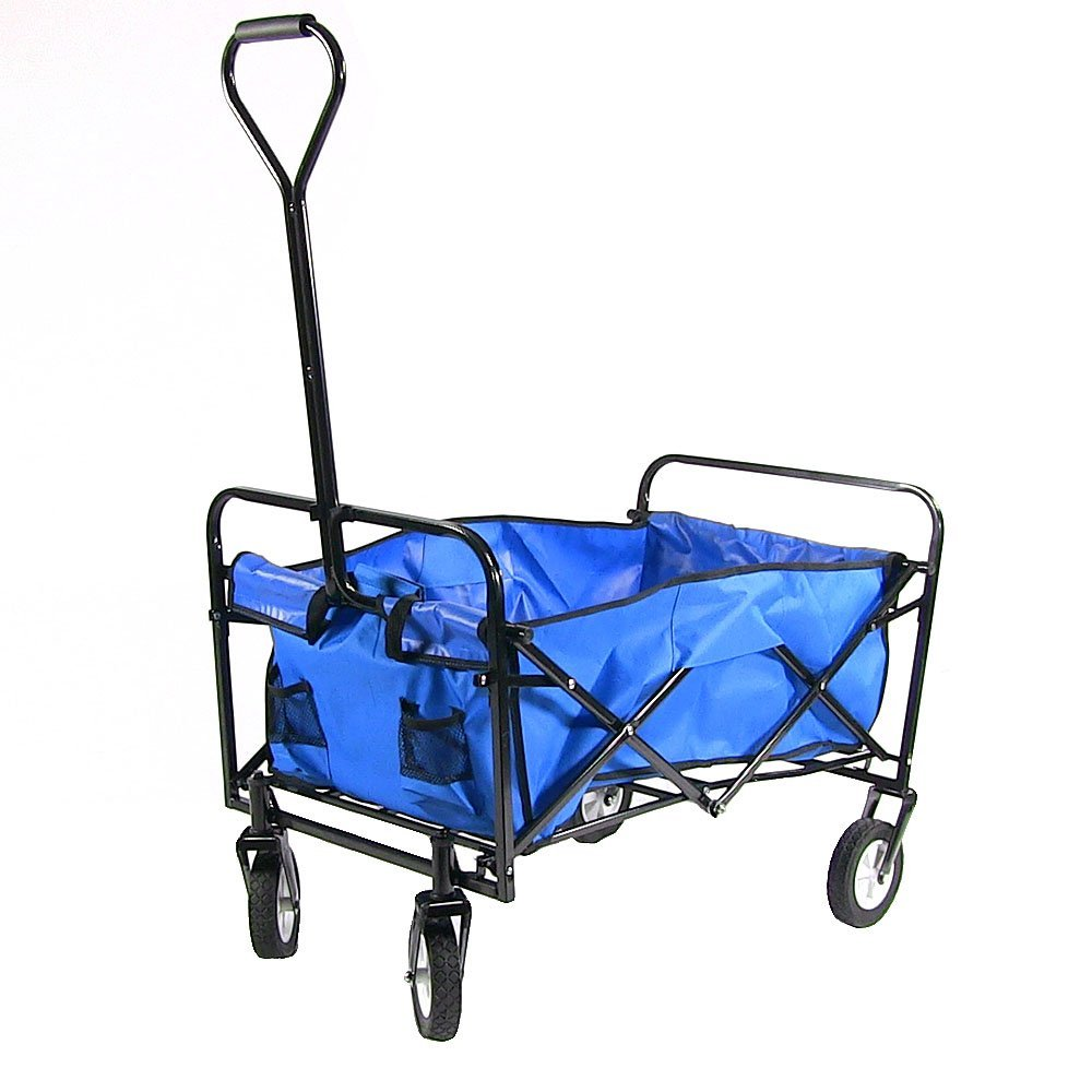 Sunnydaze Folding Utility Wagon Garden Cart, 150 Pound Weight Capacity - Multiple Colors, Multiple Colors Available