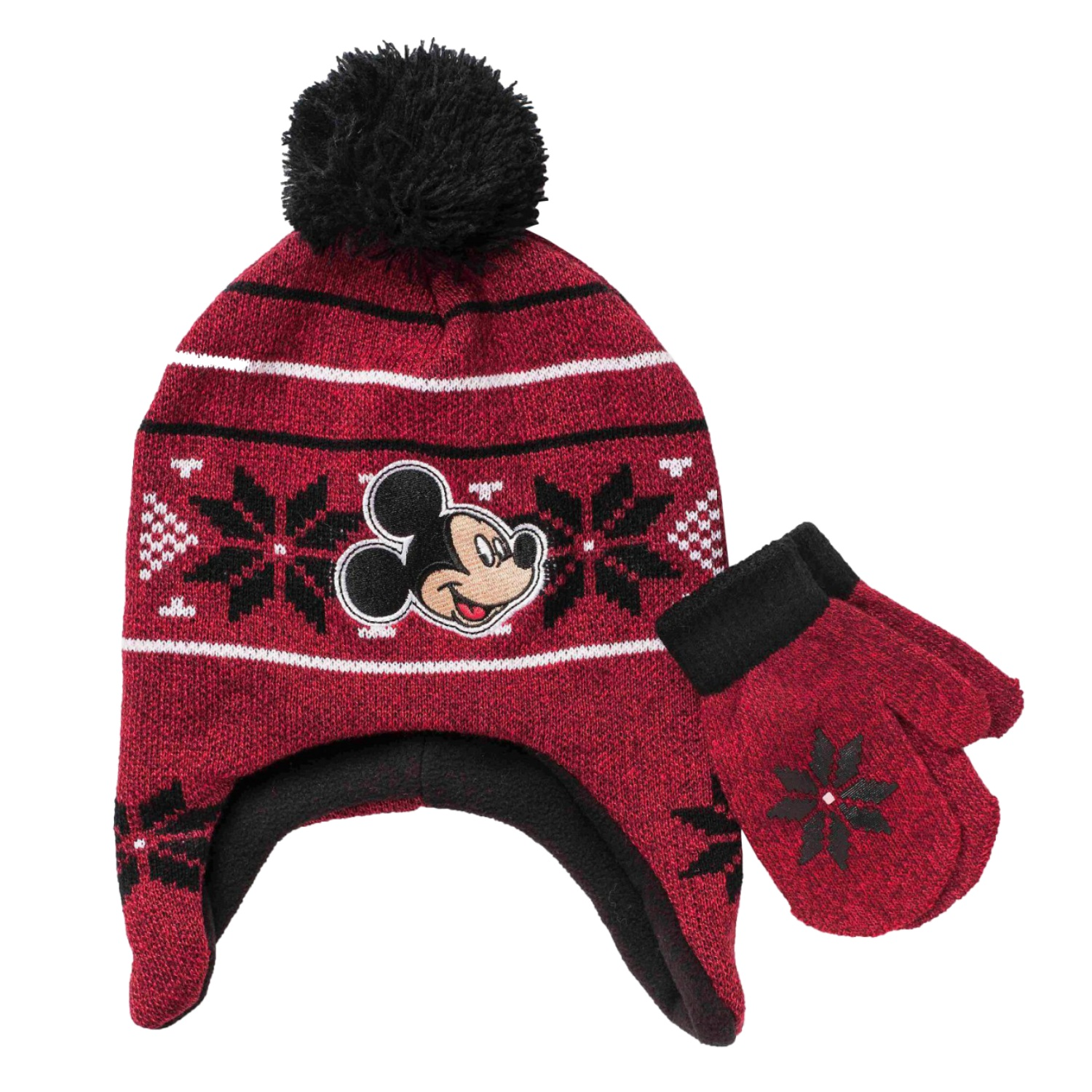 Disney Toddler Boys Mickey Fair Isle Pom Pom Knit Peruvian Hat Mittens Set