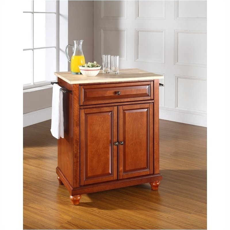 Pemberly row natural wood top kitchen island in cherry walmart com