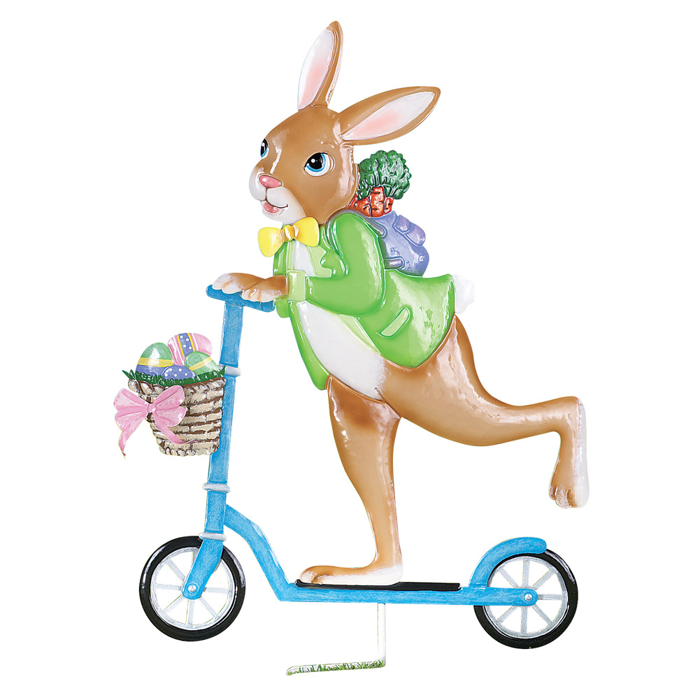 Easter Bunny on Scooter Outdoor Decoration Garden Stake, Hand-painted