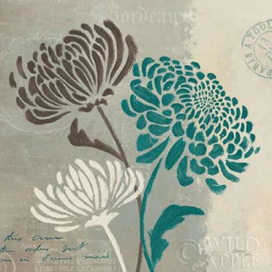 Wellington Studio Stretched Canvas Art - Chrysanthemums II - Small 12 x 12 inch Wall Art Decor Size.