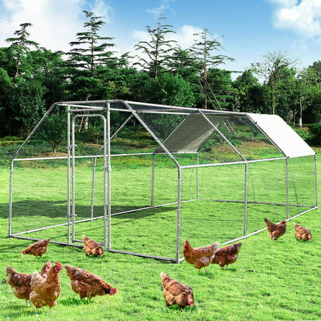 Costway Large Walk In Chicken Coop Run House Shade Cage 9.5' x 19' with Roof