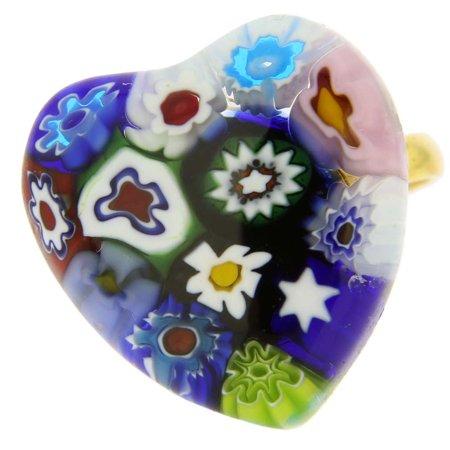 GlassOfVenice Murano Glass Millefiori Heart Ring - Multicolor (Millefiori Multi Color Heart)
