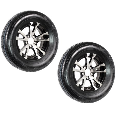 2-Pack Trailer Tires ST205/75D14 Load C 5 Lug Black Avalanche Aluminum Rim Wheel