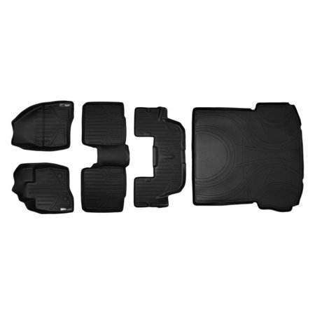 Maxliner 2015 2016 Ford Explorer Floor Mats 3 Row Set Maxtray Cargo Liner W O 2Nd Row Center Console Black A0161 B0082 C0082 D0082