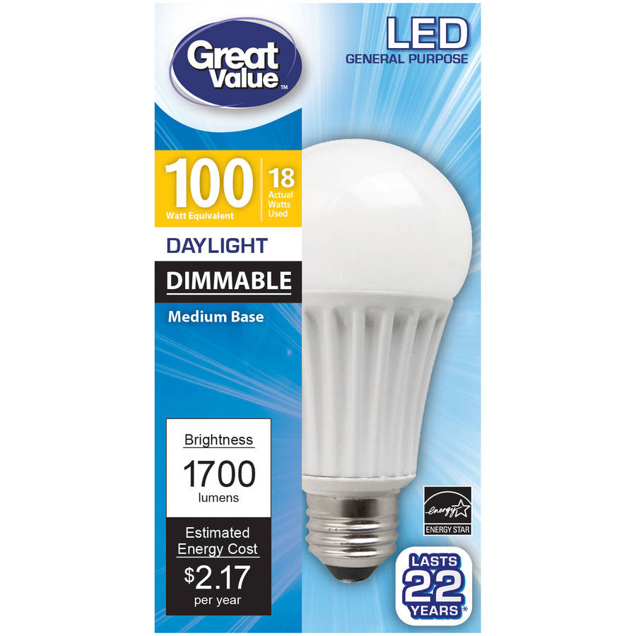 Great Value LED Light Bulb 18W (100W Equivalent) Omni (E26) Dimmable, Daylight