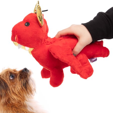 Multipet Companion Dragon Dog Toy Plush Crinkle Sound Soft Squeaker Safe Comforting Dog Toys Dragon Dog Toys