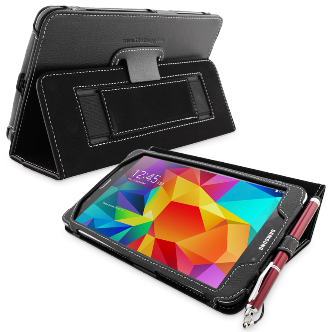 Snugg Black Leather Galaxy Tab 4 8.0 Case Cover & Flip Stand