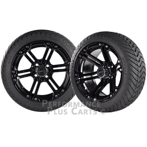 "Nitro 14"" Black Golf Cart Wheels with Low Profile Street Tires - Set of 4"