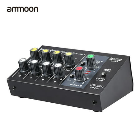 ammoon AM-228 Ultra-compact Low Noise 8 Channels Metal Mono Stereo Audio Sound Mixer with Power Adapter Cable 12 Channel Stereo Mixer