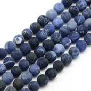 Frosted Natural Sodalite Round Bead Strands, 8mm, Hole: 1mm; about 47~49pcs strand, 14.9~15.6