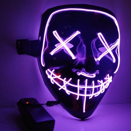 Halloween Mask, LED Light Up Mask for Masquerade, Carnival, Bar Show, Halloween decoration and Halloween Costume Party, Scary Halloween Face Mask Glowing mask for Kids Adults Women Men