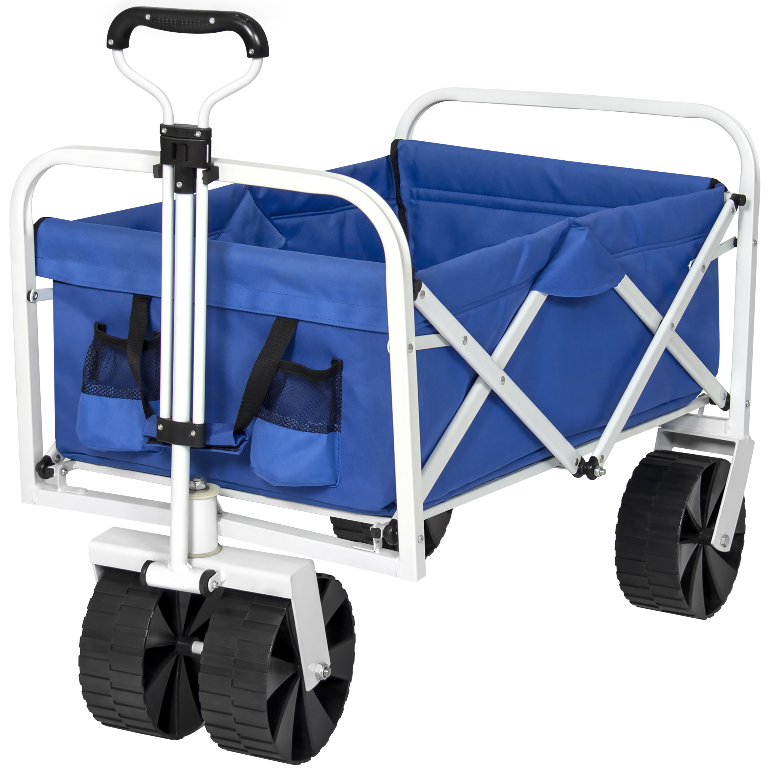 Best Choice Products Folding Collapsible Utility Wagon Cart for Garden, Beach, Yard, Camping, Sports w/ All-Terrain Wheels, Carrying Bag, 150lb Capacity - Blue