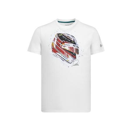 Mercedes AMG Petronas Motorsport Men's Lewis Hamilton Helmet T-Shirt White (XL)