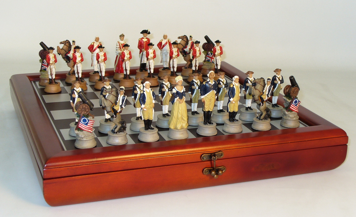 American Revolution War Resin Chess Set in Cherry Stained Chest by WorldWise Imports
