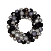 """16"""" Black, Gray and Silver Shatterproof Christmas Ball Ornament Wreath - Unlit"""