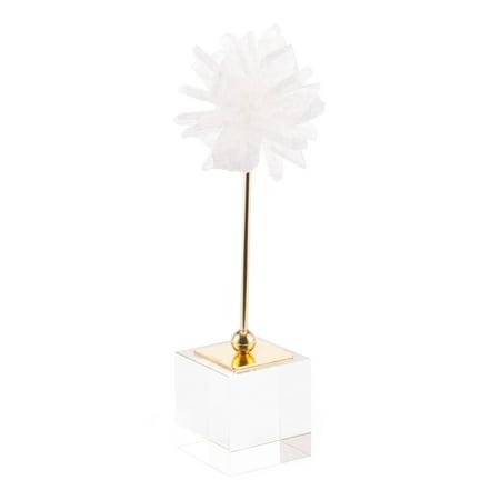 Modern Objects Stone - Modern Contemporary Decorative Figurine Object Figure Flower, White, Stone Steel Glass