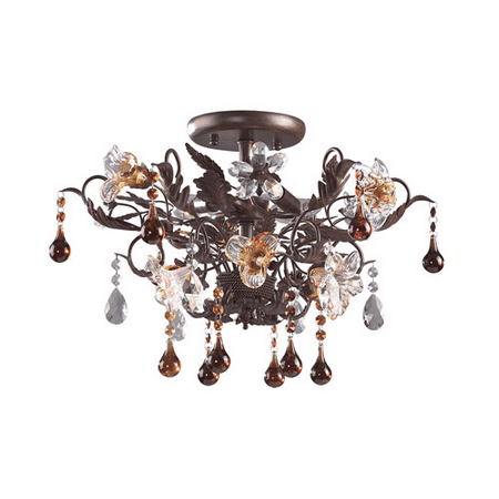 Floret 3 Light - Semi Flush 3 Light With Deep Rust Finish Hand Blown Glass Florets Candelabra 19 inch 180 Watts - World of Lamp