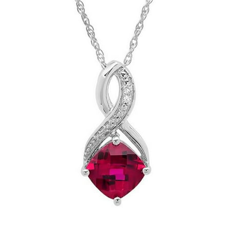 Amanda Rose Collection Created Ruby   Diamond Pendant In Sterling Silver  44  1 75 Ct