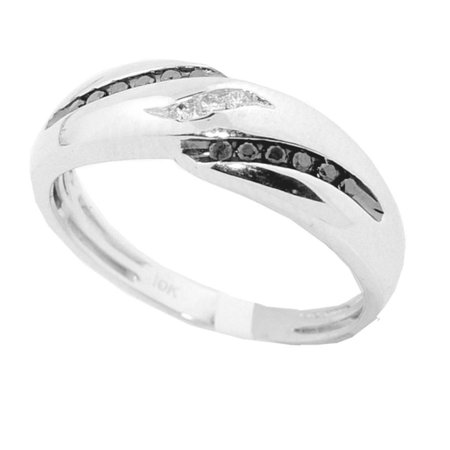 Black And White Diamond Wedding Rings For Men 10K White Gold 0.19CTTW 6.5mm Wide (Black Gold And White Wedding)