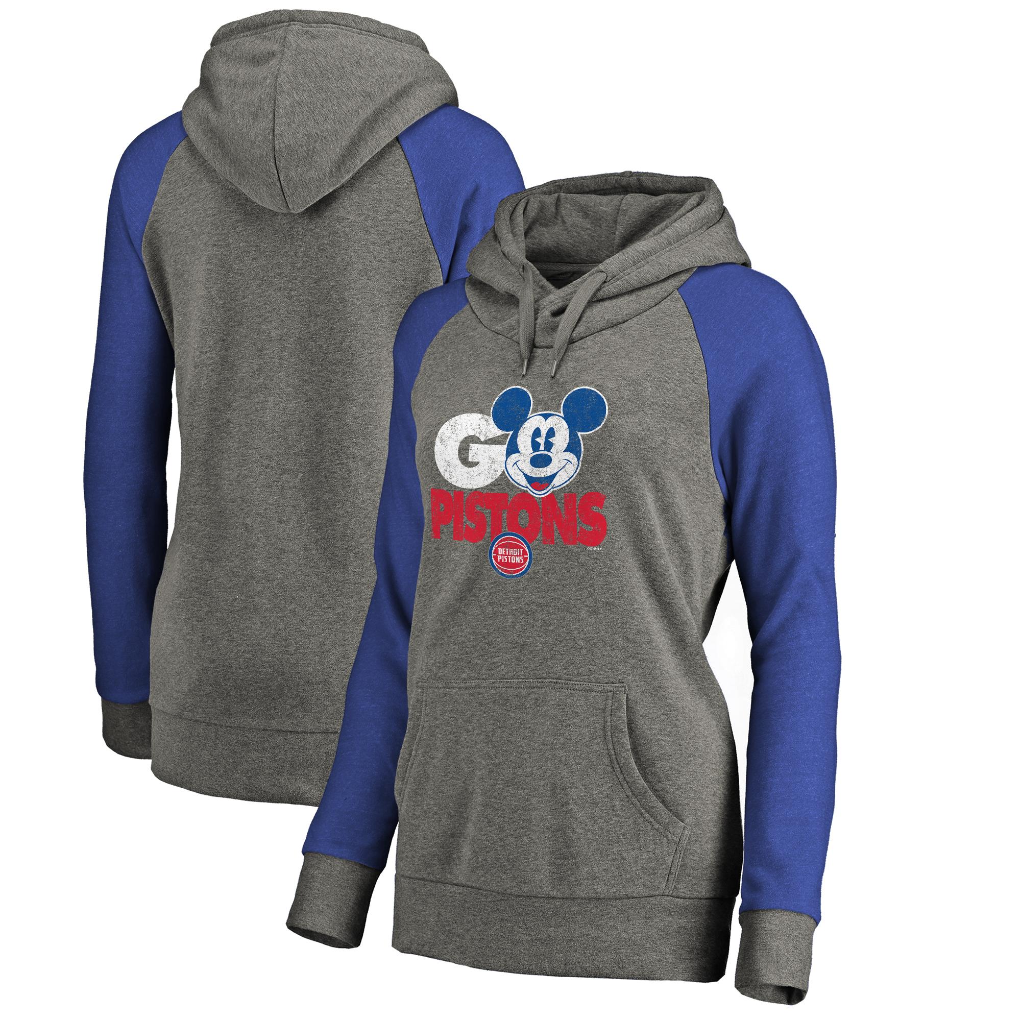 Detroit Pistons Fanatics Branded Women's Disney Rally Cry Tri-Blend Raglan Pullover Hoodie - Ash