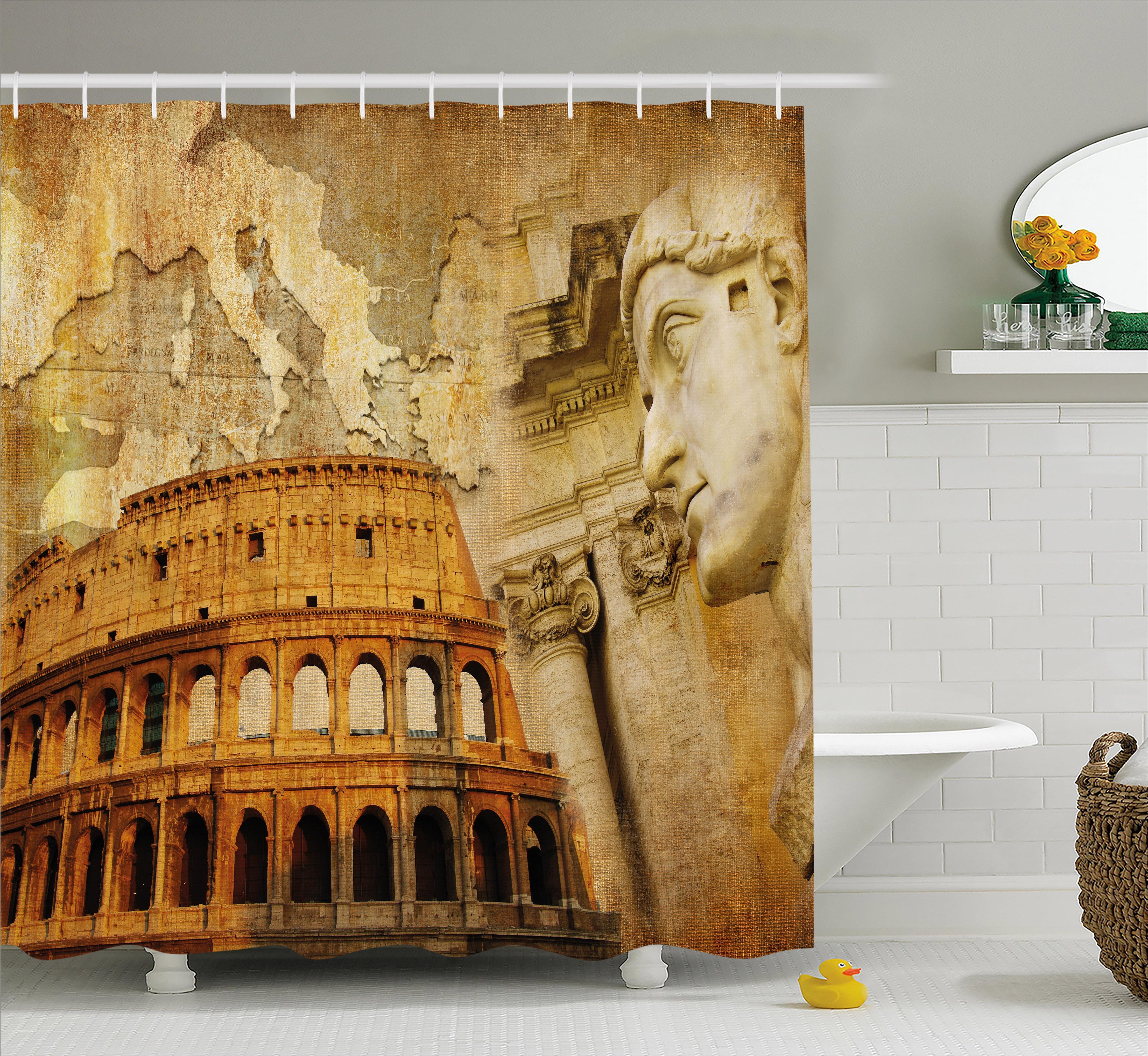 Retro Shower Curtain Roman Empire Concept Famous Columns Sculptress