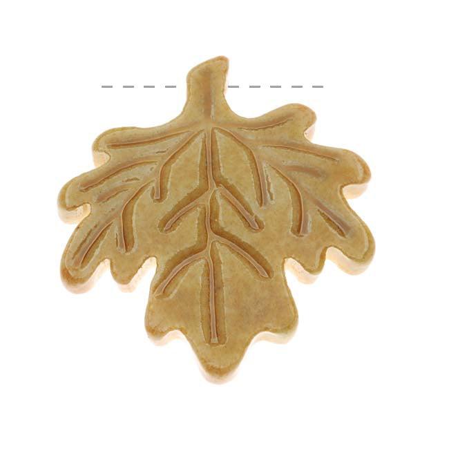 Clay River Designs Porcelain Pendant, 25x27mm Glazed Maple Leaf, 1 Piece, Golden Honey