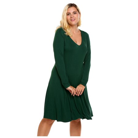 c13b6b547b Women V-Neck Long Sleeve Solid Casual Loose Nightgown Plus Size CCGE -  Walmart.com