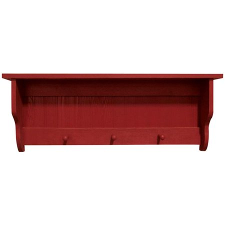 3 ft. Pine Shelf with Pegs, Antique Red