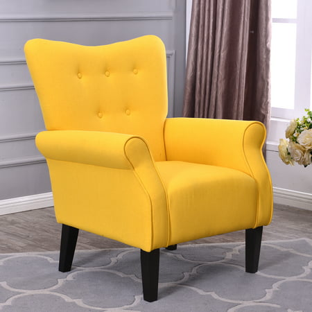 Belleze Modern Accent Chair Roll Arm Linen Living Room Bedroom Wood Leg  (Citrine Yellow)