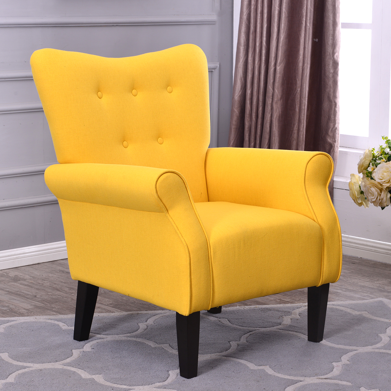 Belleze Modern Accent Chair Roll Arm Living Room Bedroom Wood Leg Linen, Citrine Yellow