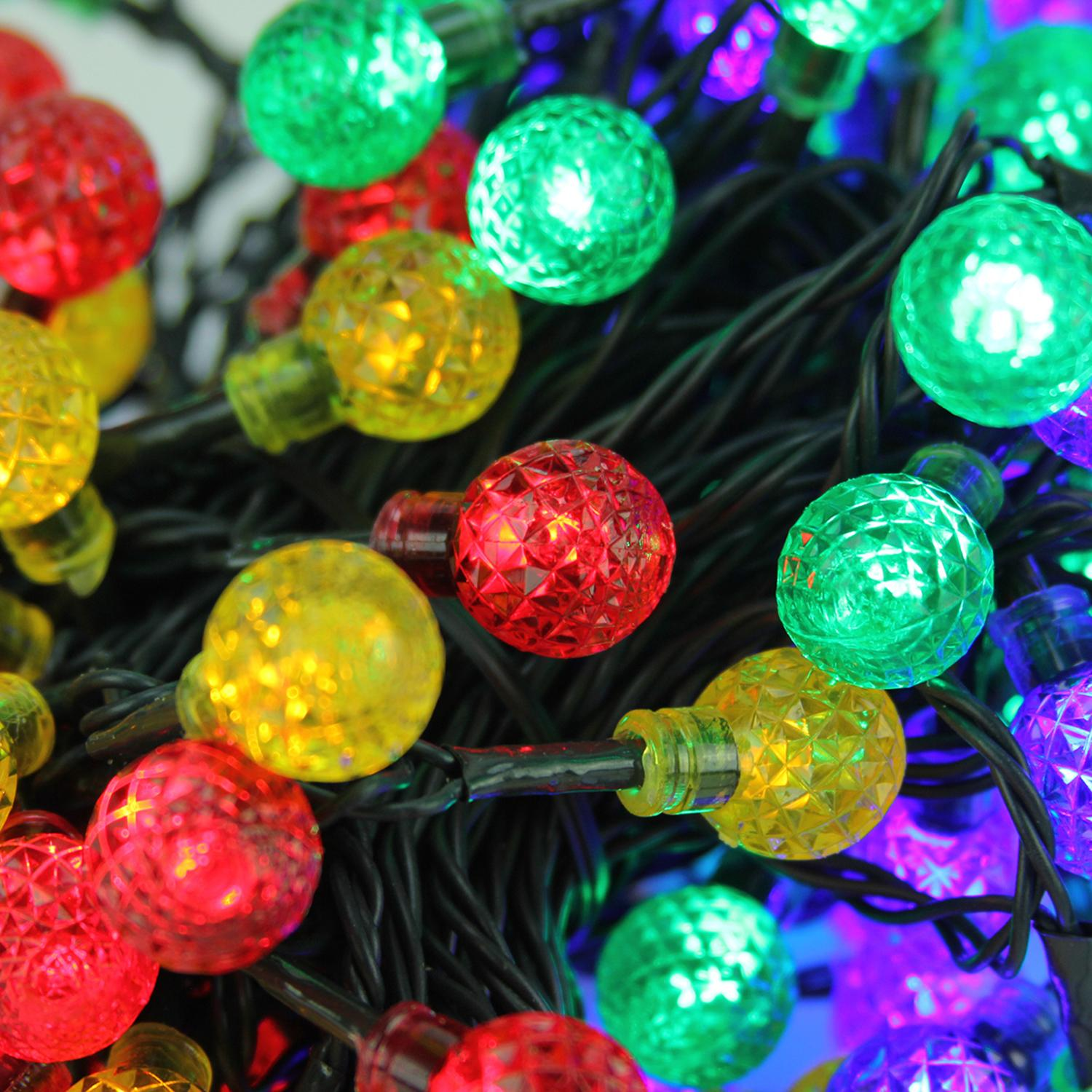 set of 240 multicolored led g20 globe christmas lights green wire