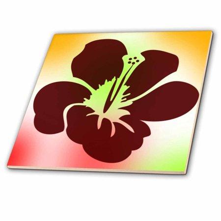 Small Pastel Flower Box - 3dRose Pastel Hawaiian Hibiscus Flower - Floral Print - Tropical Art - Ceramic Tile, 4-inch