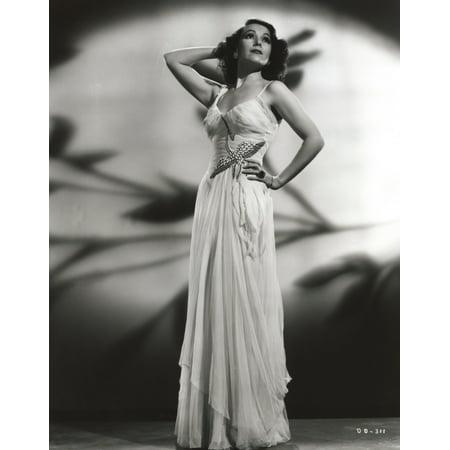 8ec92c8d1 Dolores Del Rio Posed in Floral Dress with Shadows Photo Print - Walmart.com