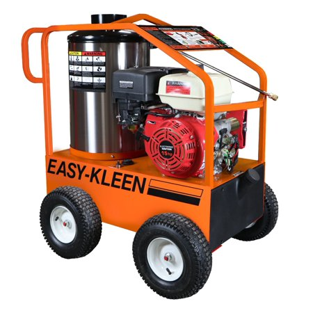 COMMERCIAL HOT WATER GAS PRESSURE WASHER, 15 HP ELECTRIC START LIFAN, 3.5 GPM @ 4000 PSI, 120 VOLT OIL FIRED BURNER, 350000